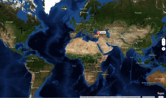 Карта Турции на русском языке географическая крупная. Города, курорты, отели, граница с соседними государствами