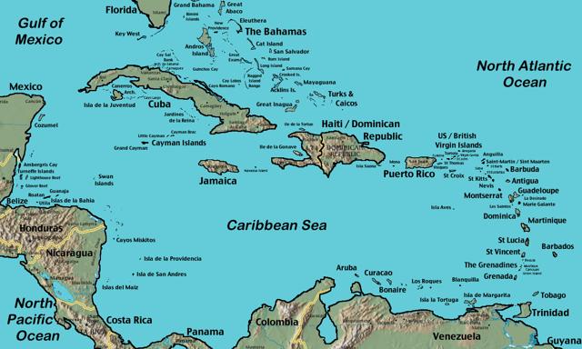 Карибское море на карте мира на русском языке. Фото, где находится, какие страны омывает, описание, курорты и цены